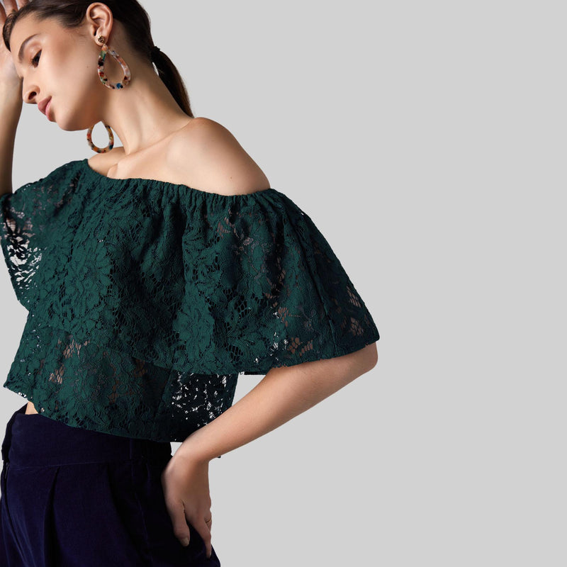 Teal Lace Off Shoulder Overlay Crop Top