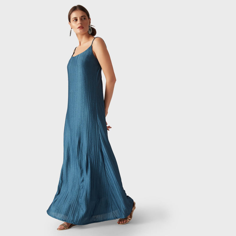 Teal Pleated Maxi