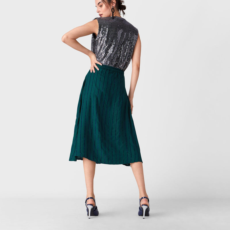 Teal Stripe Midi Skirt