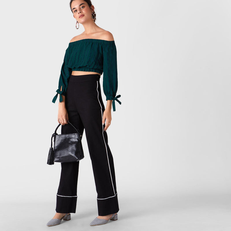 Teal Stripe Off Shoulder Crop Top