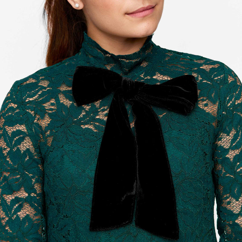 Teal Lace Bow Tie Shift Dress