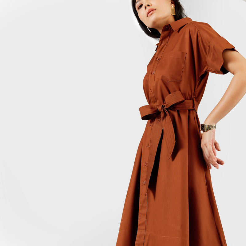 Rust Self Tie Shirt Dress