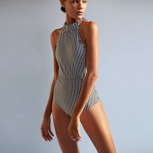 Monochrome Striped Braided Halter Swimsuit