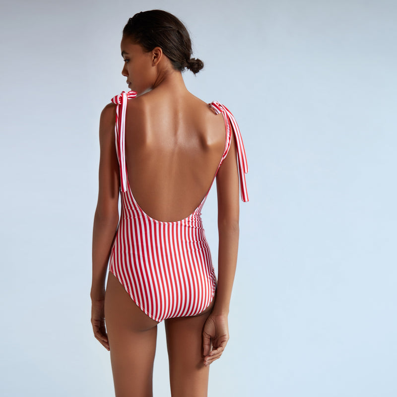 Scarlet Striped Bow Tie Swimsuit