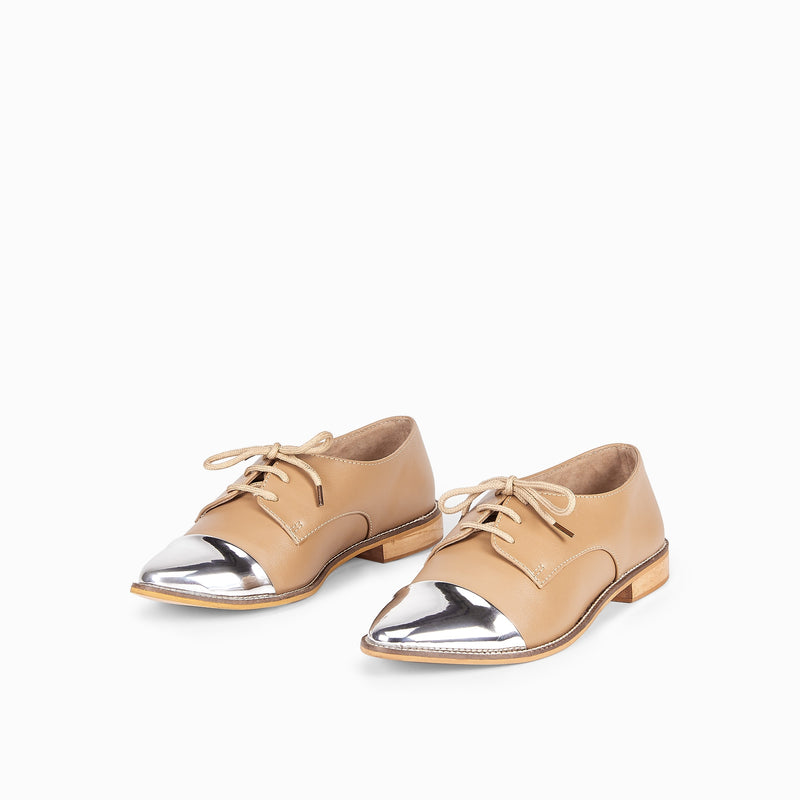 Beige & Silver Pointed Brogues