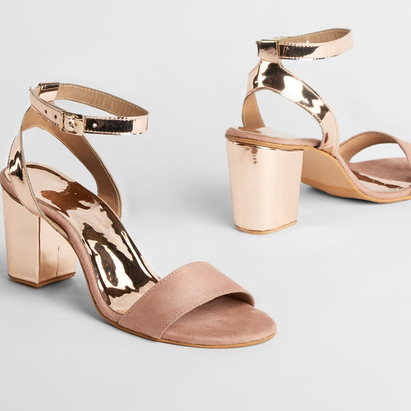 Rose Gold & Blush Block Heels