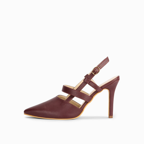 Wine Pointed Mule Heels