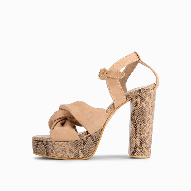 Beige Knotted Textured Block Heels