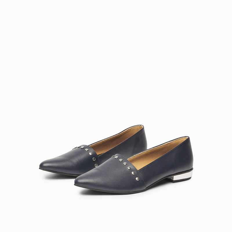 Navy & Silver Studded Loafers