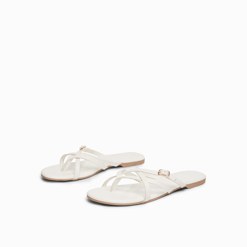 White Cross Strap Flats