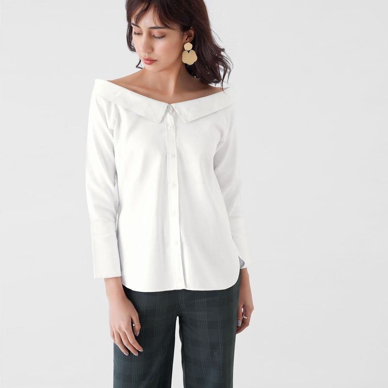 White Off Shoulder High Low Shirt