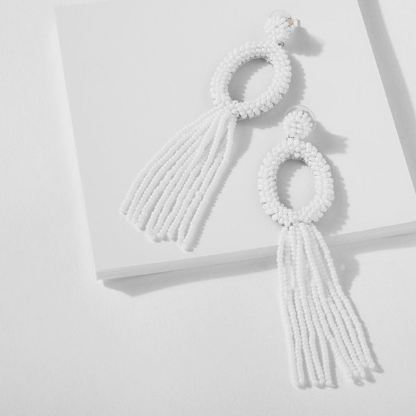 White Oval Beaded Tassel Earrings