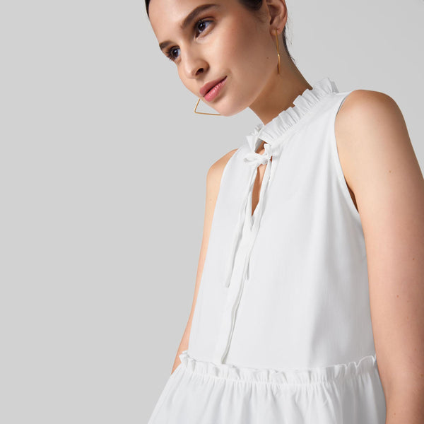 White Self Tie Peplum Top
