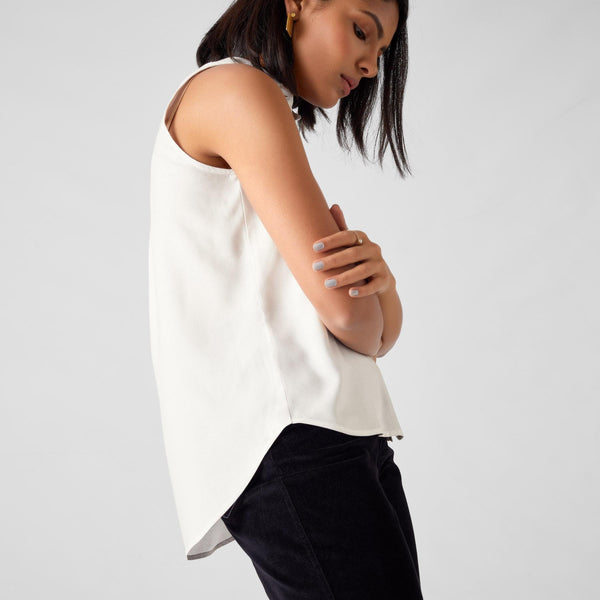 White Sleeveless Gathered Shirt