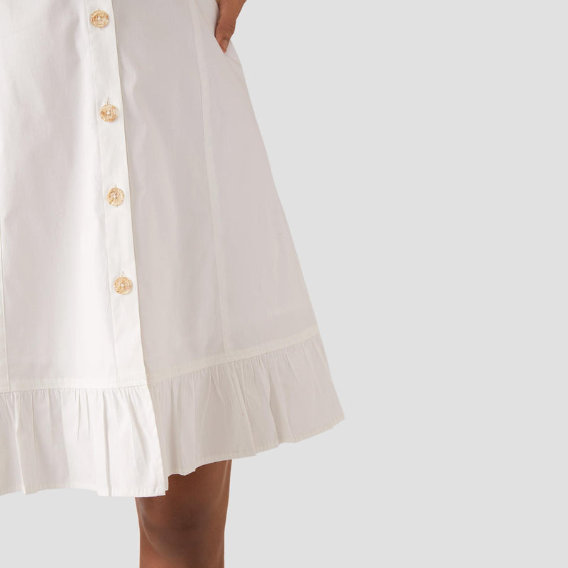 White Sleeveless Ruffle Hem Dress