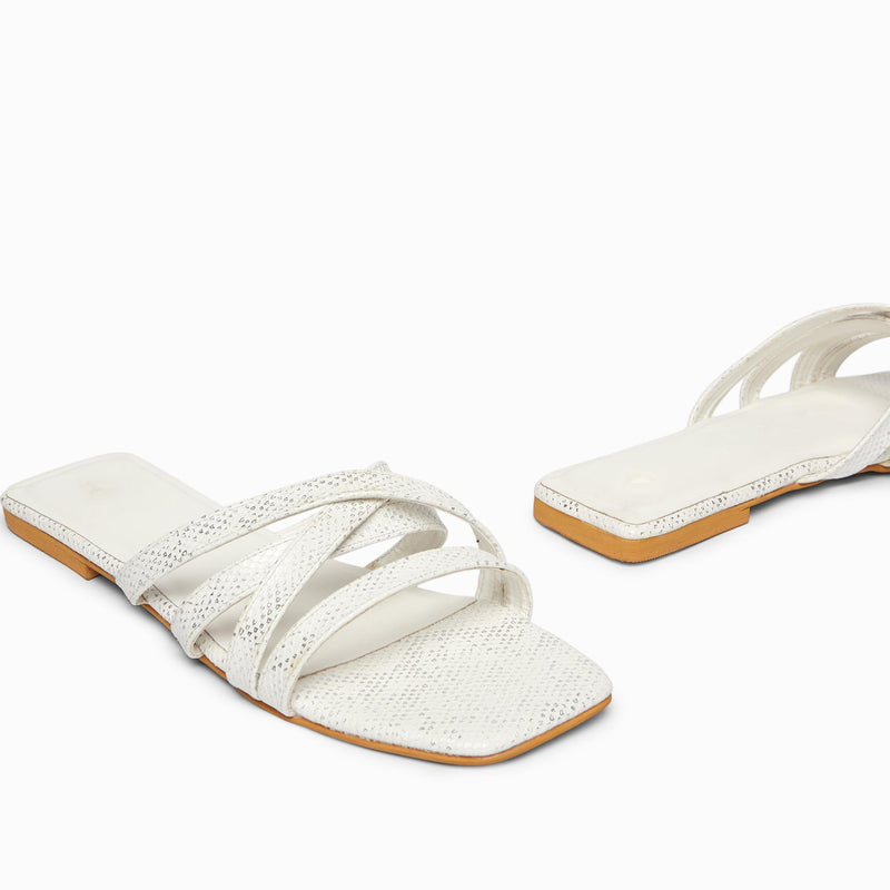 White Textured Cross Strap Flats