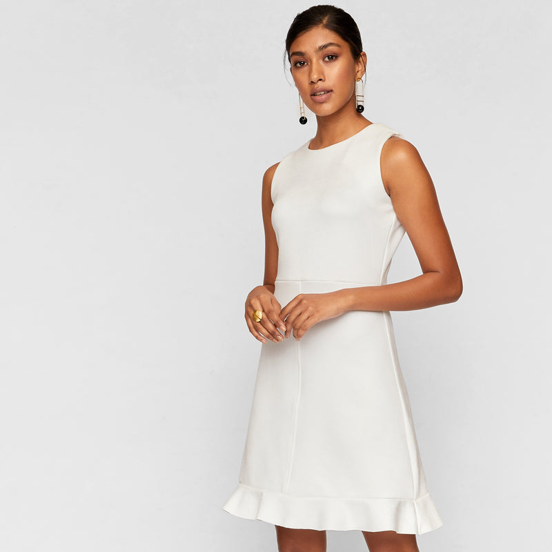 White Suede Ruffle Hem Dress