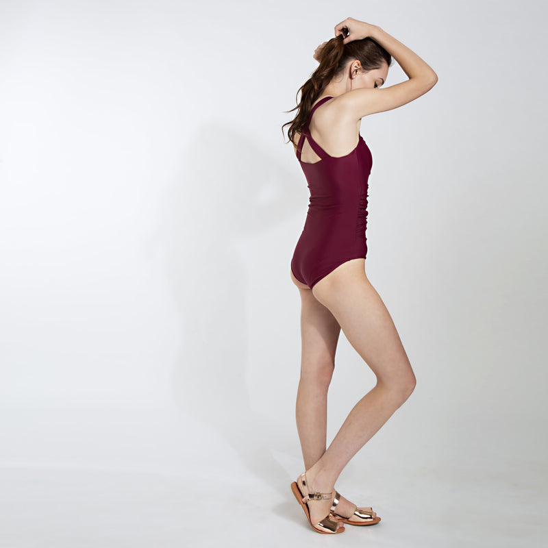 Wine Ruched Swimsuit