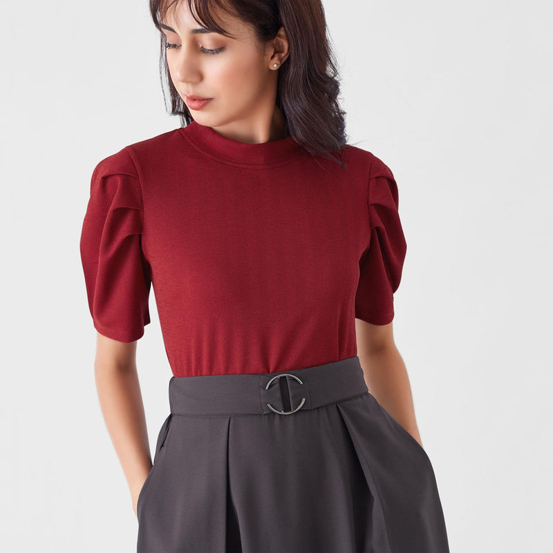 Wine Herringbone Balloon Sleeve Top