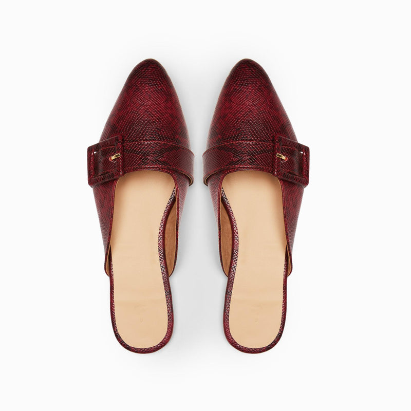Wine Textured Buckle Mules