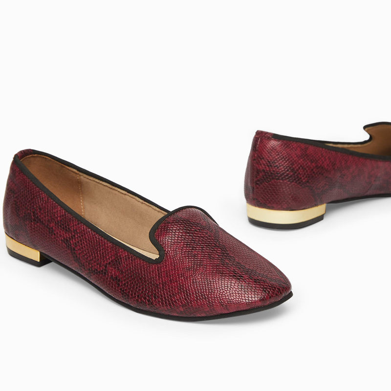 Wine Textured Loafers