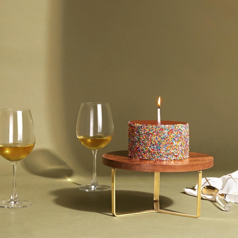 Wood & Brass Cake Stand Small