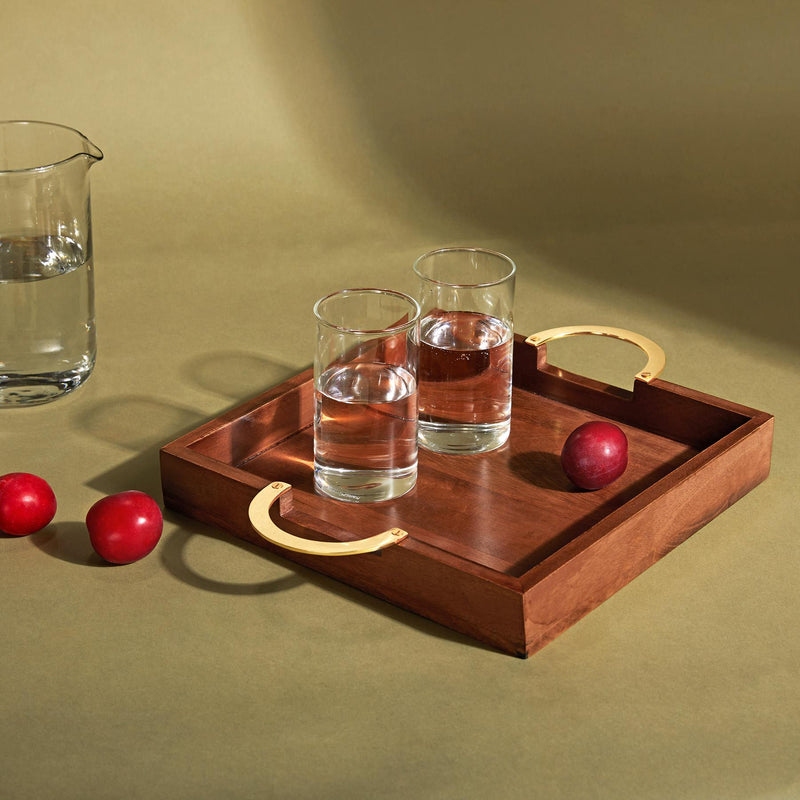 Wood & Brass Square Tray