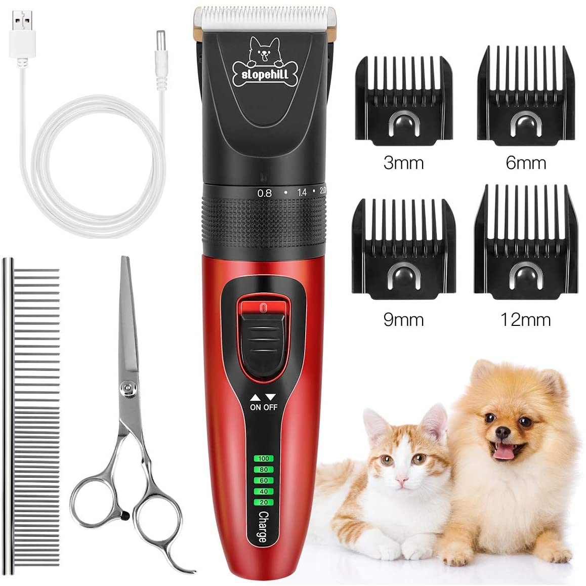 Slopehill™ Dog Cat Rechargeable Cordless Clippers- Dog Grooming Kit , with LED Display