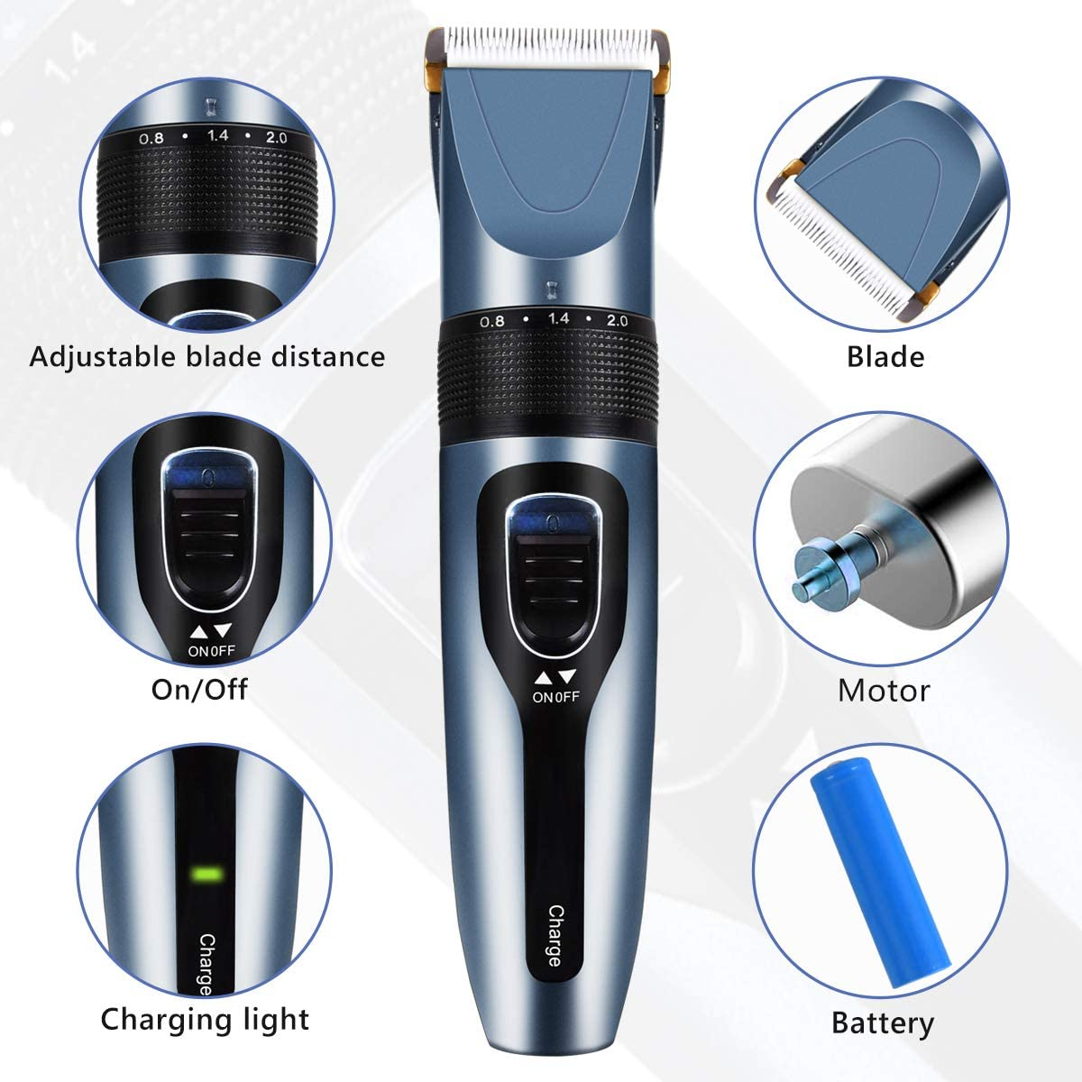 PawFull™ 12-IN-1 Dog Cat Hair Clippers -Best Cordless Shaver Trimmer with Pet Grooming Kit