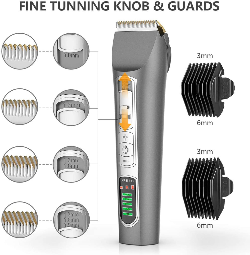 Oneisall™ 8-IN-1 Dog Clippers Heavy Duty- 3-Speed Rechargeable Cordless Pet Grooming Hair Shaver