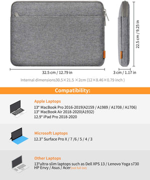 Inateck Inateck 13 Zoll Tasche Hülle Kompatibel MacBook Air 2018/2019/2020, 13 Zoll MacBook Pro 2020/2019/2018/2017/2016, Surface Pro X/7/6/5/4/3/, XPS 13, 12.9 iPad Pro LB01005, Grau