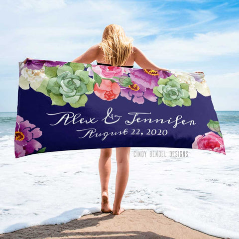 personalized navy floral wedding gift beach towel