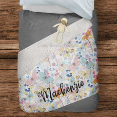 Personalized Name Girl's Floral Butterfly Sherpa Blanket