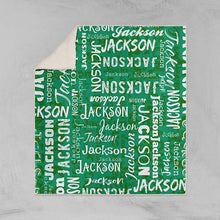 Load image into Gallery viewer, Personalized Name Blanket Green Jackson