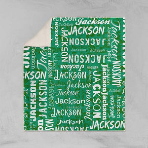 Personalized Name Blanket Green Jackson