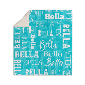 Personalized Name Blanket Teal Bella