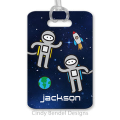 Personalized Luggage Bag Tag Astronauts Outer Space Galaxy