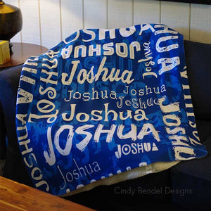Personalized Name Blanket Blue For Joshua