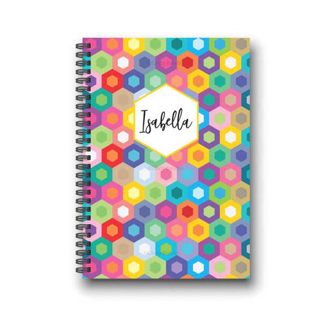 Rainbow Honeycomb Personalized Notebook - Modern Geometric Pattern - Monogram Initials Available