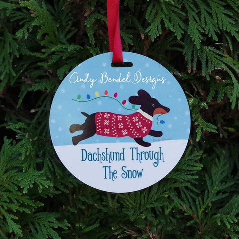 Black Doxie Dog Ornament Personalized Dachshund Christmas Holiday