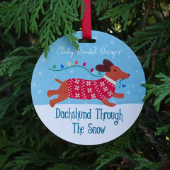 Dachshund Doxie Dog Personalized Christmas Holiday Ornament