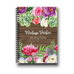 Personalized Rustic Wood Floral Wedding Notebook