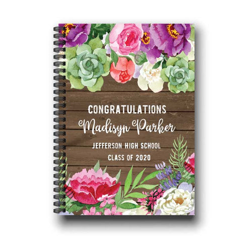 Rustic Floral Graduation Notebook Guestbook