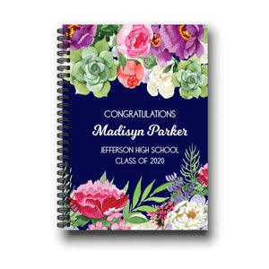 Rustic Navy Floral Graduation Notebook Guestbook