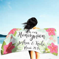 personalized beach destination wedding towel