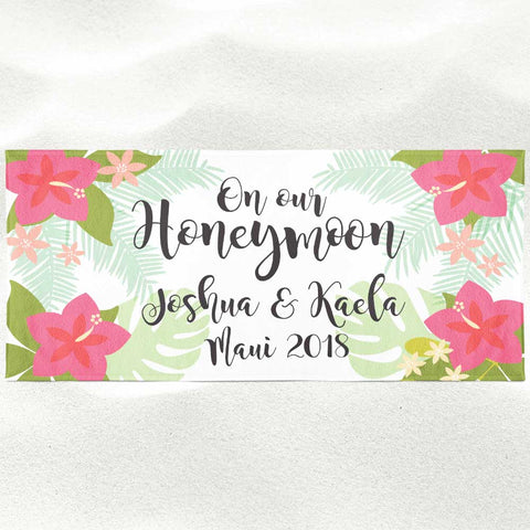 Personalized Tropical Floral Wedding Beach Towel