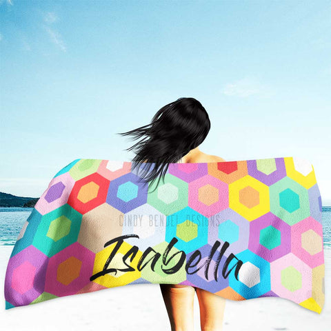 Colorful Rainbow Geometric Honeycomb Beach Towel Personalized