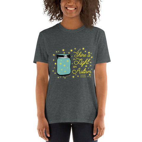 Autism Awareness Shine A Light Rustic Mason Jar Fireflies Short-Sleeve Unisex T-Shirt