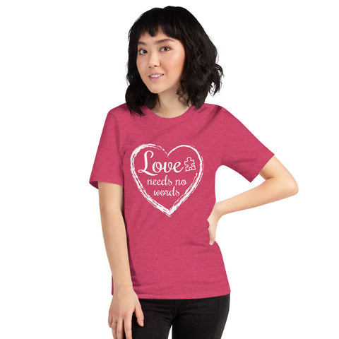 Love Needs No Words Autism Awarness Nonverbal Short-Sleeve Unisex T-Shirt