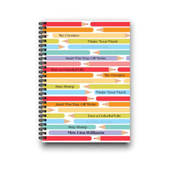 Rainbow Colored Pencils Personalized Notebook for Teacher Appreciation Gift